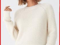 Pulover House alb - Nou - model fagure - cu Etichetă- damă L