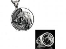 Set pandantiv colier medalion lantisor + inel Witcher 3 III