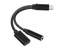 Adaptor splitter Audio USB Type-C - USB Type-C / 3.5 Mm