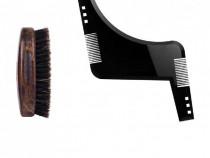 Set ingrijire barba, perie barba lucrata manual si sablon