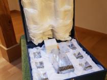 Set Cristal Argintat 6 pahare plus decantor Chinelli Italy