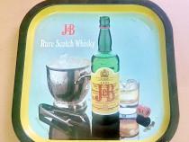 C646-Tava reclama J&B Wiskey rare scotch metal latura 32.5cm