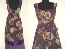 Rochie din panza fina, cu print floral colorat