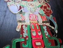 Cultura Maya-tablou alama emailata pe lemn-made Mexico-cadou