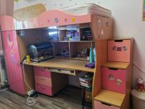 Dormitor complet copii/tineret - pat etajat, birou, dulap