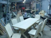 Masa +6 scaune lemn masiv