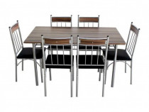 Set masă de bucătărie cu șase scaune, MDF pe structură metal