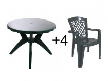 Set masa rotunda, cu 4 scaune, pentru gradina. NOU.
