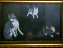Trei mâţe ce se joacă cu un ghem (tablou vechi)