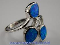 Inel argint rodiat, aspect aur alb, opal albastru: IN576331