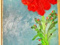 46a-Tablou ulei pe panza- Floare cu boboci de mac.