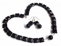 Colier si cercei din Argint 925, Onix negru