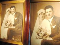 Fotografie nunta epoca veche, rama lemn stare buna.