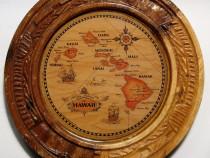 Harta cu insulele Hawaii rotunda aplicata pe lemn 14 cm