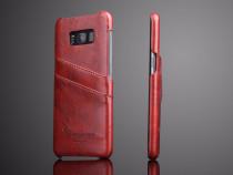 Husa protectie piele fina vintage Samsung S8, maro coniac
