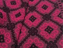 Cuvertura lana,tesuta manual,roz cu negru,215x150 cm