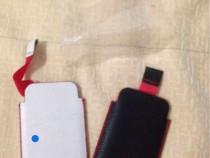 Husa de piele iphone 4, alba sau neagra, noua