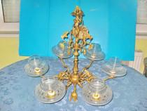 7443-Candelabru 9 brate Baroc bronz aurit Franta Femeie.