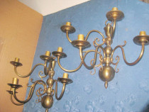 Set 2 Aplice electrice mari cu 5 brate stil clasic bronz.