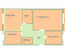 Apartament 3 camere, decomandat, 74m2 centru, mobilat+utilat