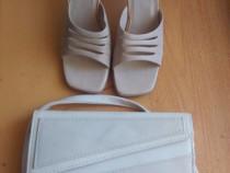 Set sandale damă Nr.37+gentuță bej din piele sintetică,bonus