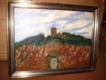 Tablou peisaj cu carare spre Castel pe munte.