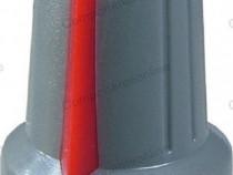 Buton pentru potentiometru, 15mm, plastic, gri-rosu-127000
