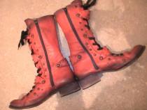Ghete/cizme rosii, din piele  m 38