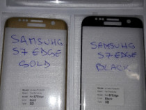 Samsung S7 edge folie sticla full clear / gold / black