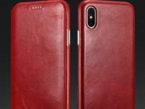 Husa piele naturala iCarer, iPhone X, clapeta curbata, ROSU