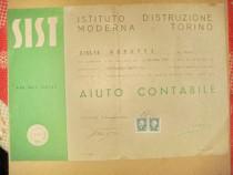 Act vechi Italia Diploma stenografie ajutor contabil 1944.