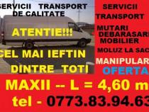 Transport marfa,mutari mobila,moluz,3,5 t manipulanti duba