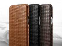 Husa piele naturala iCarer Woven Samsung S8 Plus maro