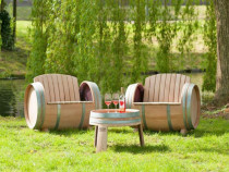 Set masă și 2 scaune orizontale din butoi decupat Dionysus