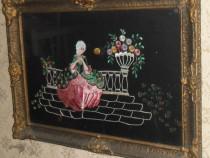 Lot 3 tablouri pictate și brodate, vechi de peste 100 de ani