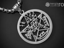 Pandantiv Pentagrama, Amuletă, Pentaclu Tetragrammaton, INOX