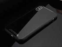 Husa Silicon cu Spate Sticla Securizata Neagra - Iphone X 10