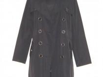 Trench stil robe manteau, cu nasturi, negru