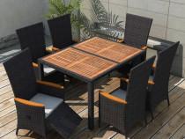 Set mobilier exterior 13 piese, negru, XXL(42693)