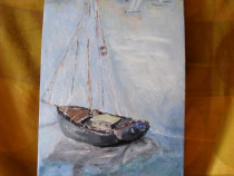 Marina 3-pictura ulei pe placaj;