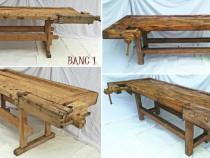 Banc vechi de tamplarie din lemn, tejghea de lucru vintage