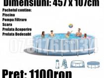 Piscina Familie Relaxare Rotunda Gradina Cadru Metal 457 cm