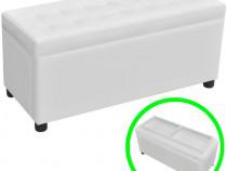 Taburet piele artificială cu butoni și spațiu de dep(242406)