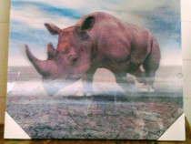 Decorațiune 3D de perete , Rinocer , 29x29 cm