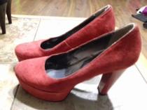 Pantofi eleganti piele naturala, marime 37, culoare rosu