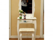 Set masa toaleta pentru machiaj cu oglinda, sertar depozitar
