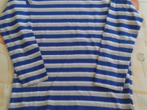 Bluza NOUA albastra cu dungi albe 128