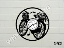 Ceas de perete din vinil bicicleta cu flori