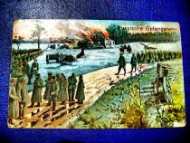 Ww1-CP-Militari Austrieci cu prizonieri rusi transportati.