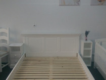 Pat alb din lemn 160x200 cm